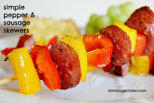 pepper and sausage skewers