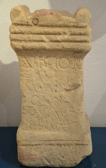 Altar dedicated to Virtuti Invictae Imp, the Invincible Goddess Virtus, by Gaius Paulinius Justus, found beneath the Tauroctony relief, Wetterau Museum, Friedberg (Germany)