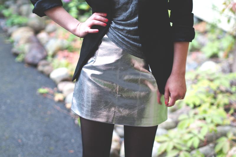 silver skirt choies