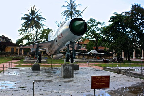 "The sign read: ""The MIG-21 is a fighting jet-plane of Vietnam military aviation. In the resistance against American imperialists from 1954 to 1975. Vietnam military aviation used this type of jet-plane to shoot down the enemy aircrafts, especially B-52 Fl"
