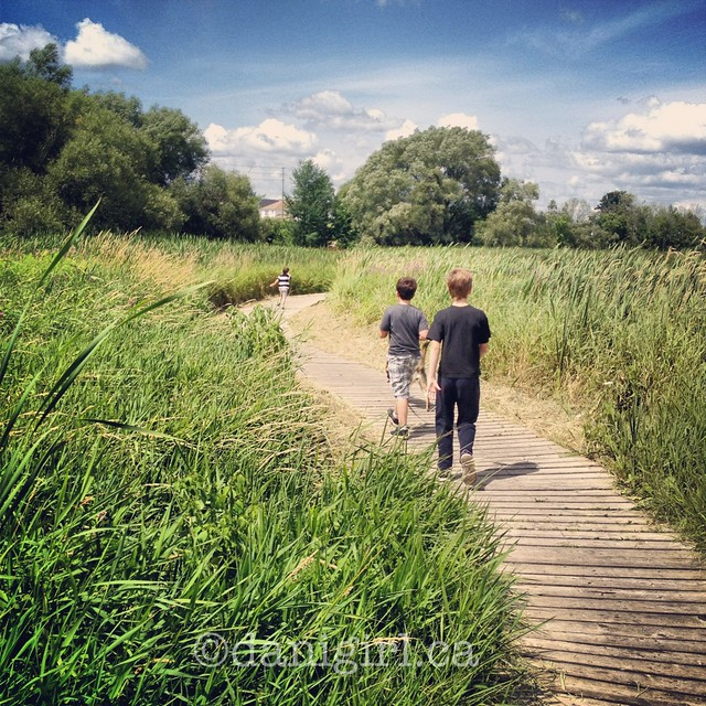 photo of boys walking on a boardwalk in summer