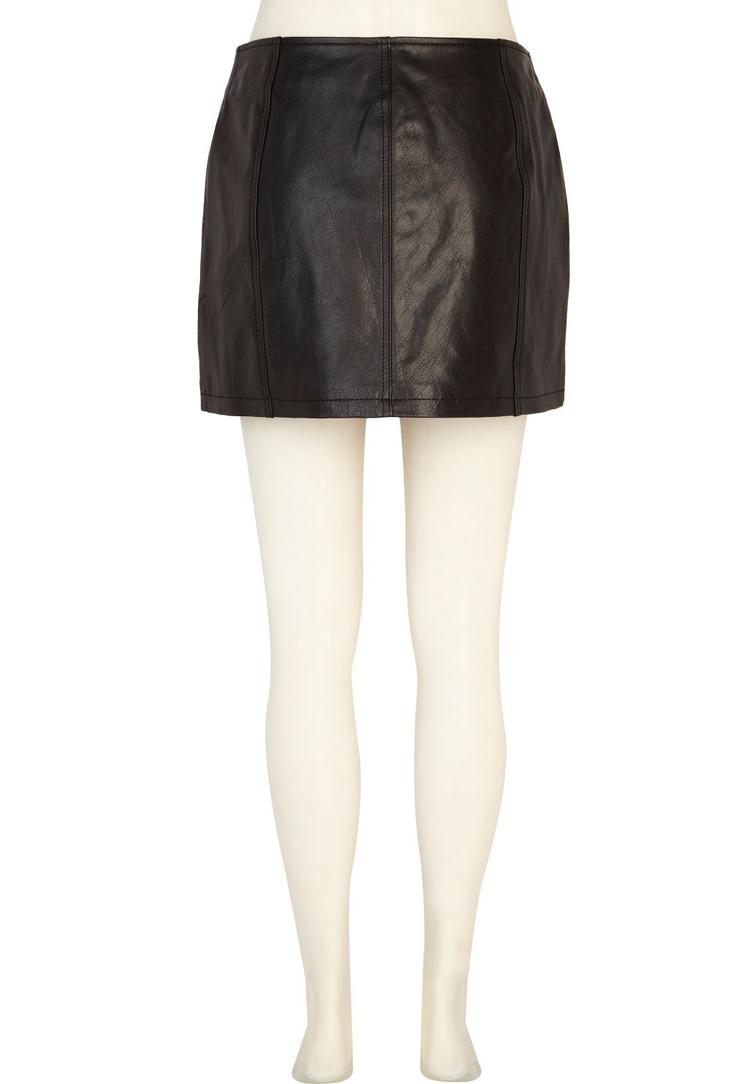 River Island Biker Leather Skirt