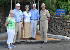 Richard Lay and his wife Jean, left, and Chester Nimitz Lay and wife Marion, pose for a photo with Adm. Cecil D. Haney, commander of U.S. Pacific Fleet, before touring the home where Richard and Chester's grandfather, Fleet Adm. Chester Nimitz, lived during World War II. (U.S. Navy Photo by Mass Communication Specialist 2nd Class David Kolmel)