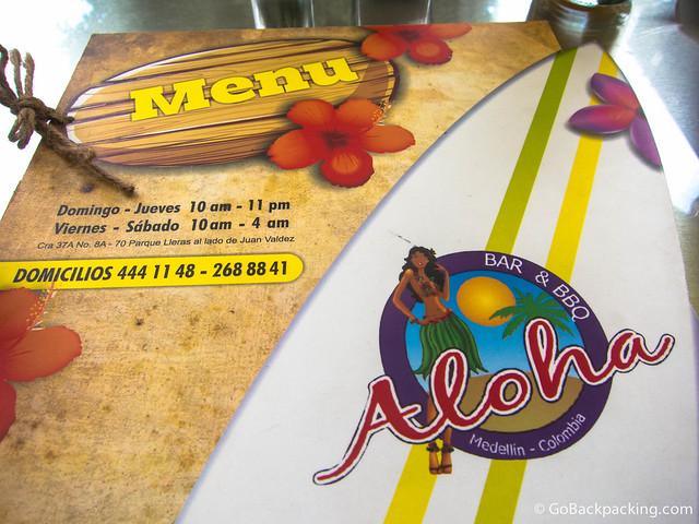 Aloha Bar & BBQ's menu