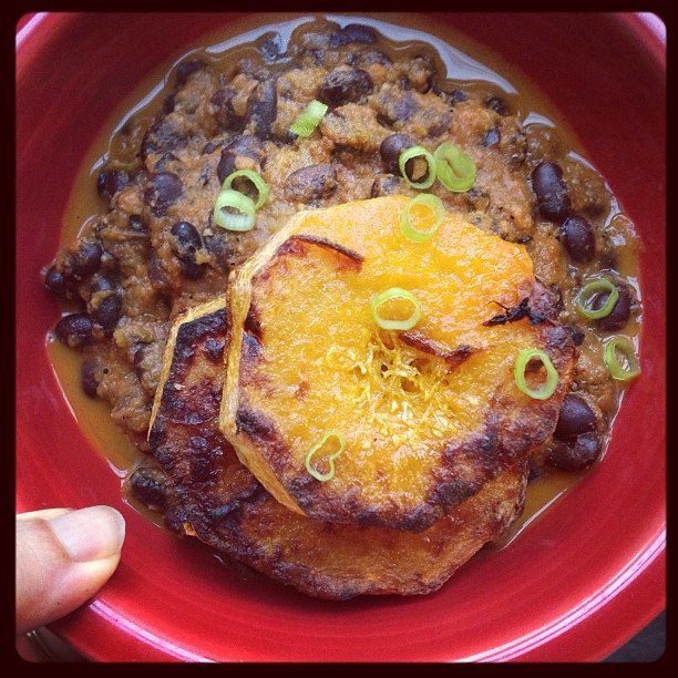 Charbroiled butternut + black bean rancheros. Yum. #whatveganseat #vegan