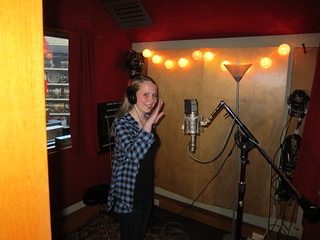 Caitlin recording backing vocals which may or may not end up on Helen Perris' upcoming EP