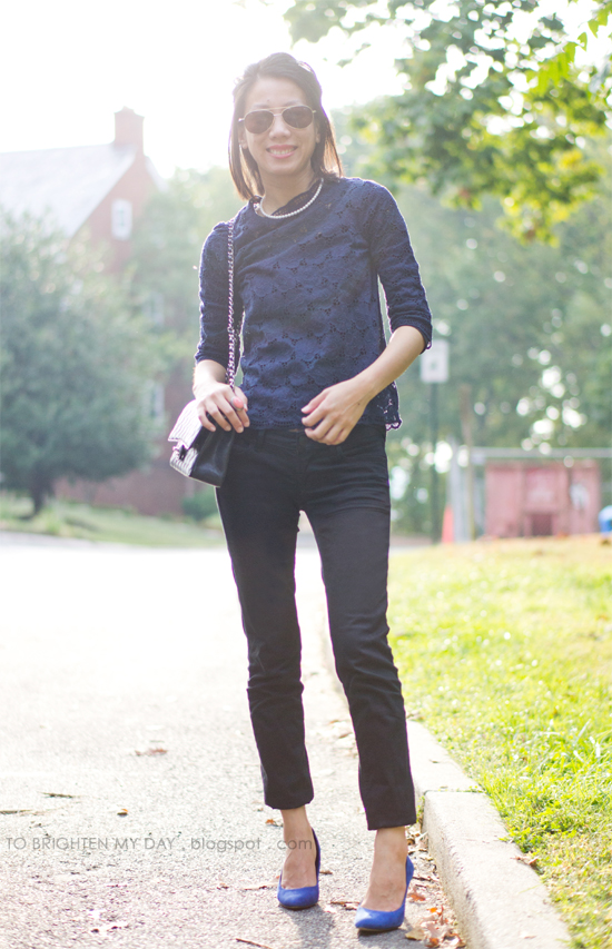 navy lace top, black jeans
