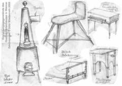 Moebel, Goethe, Gartenhaus, Weimar, Ofen, Sitzbock, Klavier mit Manualschublade, Reisebett, Serviettenpresse, Skizzen Bleistift auf Papier