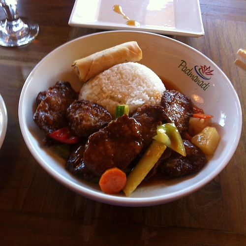 Sweet and sour vegan pork at Padmanadi #yegfood by raise my voice