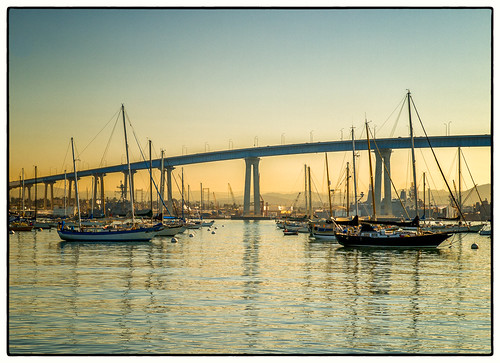 park bridge sunrise boats sandiego coronado tidelands