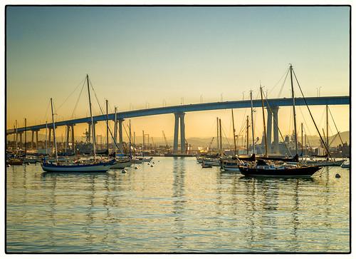 park bridge sunrise boats sandiego coronado tidelands