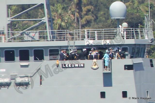 Prince Harry on HMAS Leeuwin during the International Fleet Review, Sydney, October 2013
