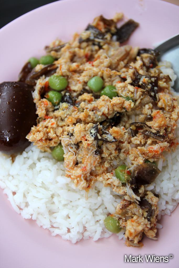 Pad boo (stir fried crab  ผัดปู) with a kai paloe (stewed egg ไข่พะโล้)