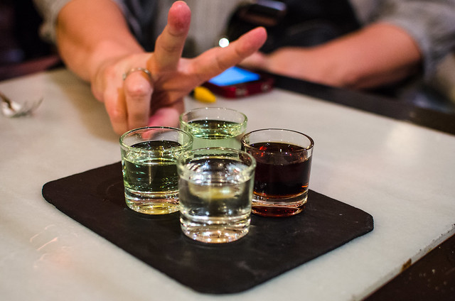 Shots of grappa and sherry for the drinkers, and sips of apple nectar for the teetotallers at Vinería San Telmo.