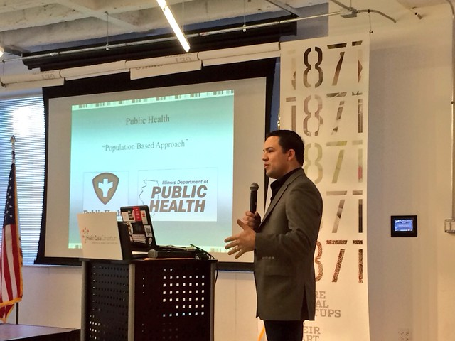 "Stephen Konya speaking at 1871 during the ""Making Public Health Data Work"" event"