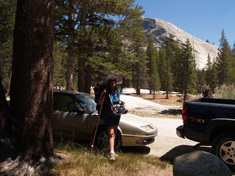 Vicki back at the car on Yosemite National Park Road in Tuolumne Meadows near Lembert Dome, after ten days of hiking