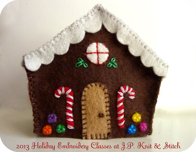 Mini embroidered felt gingerbread house