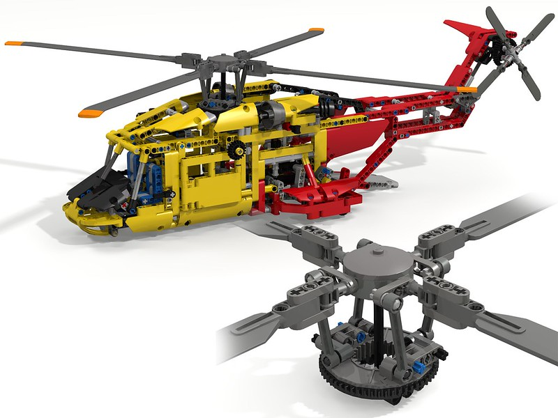 realistic helicopter rotor head swashplate cyclic collective lego technic and model team. Black Bedroom Furniture Sets. Home Design Ideas