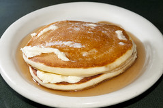 Buttermilk Pancakes with whipped butter and maple…