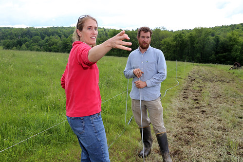 NRCS District Conservationist Kate Parsons discusses pasture management with Sean Stanton. NRCS photo.