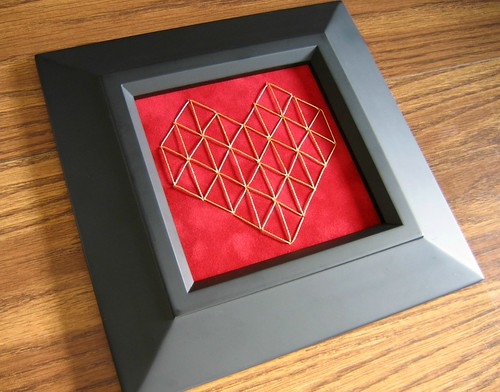 Stitched Geometric Heart in Frame