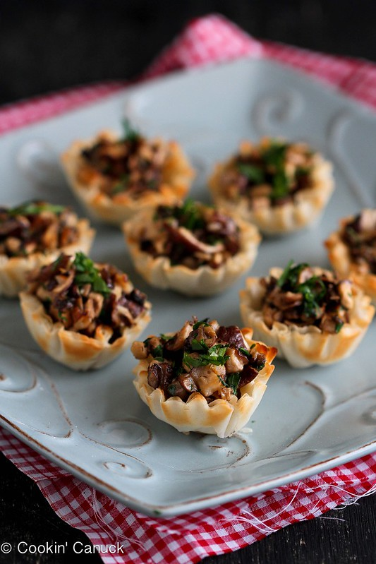 Mini Mushroom & Gorgonzola Bites Recipe | cookincanuck.com #recipe #appetizer #vegetarian