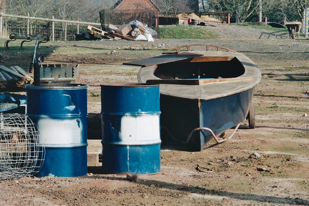 boat and barrels