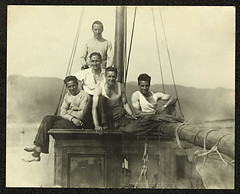 Five men posing for  photograph