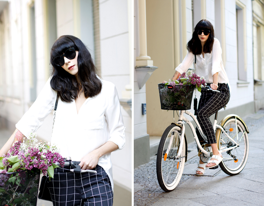 Square pants sixties style white blouse H&M diane von furstenberg dvf birkenstock spring outfit bycicle bike city chic berlin CATS & DOGS fashion blog Ricarda Schernus 6