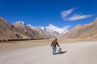 Puncture repair in Rangdum, The Suru Valley, Himalayas