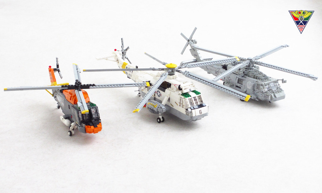 Three generations of US Navy helicopters (custom built Lego model)