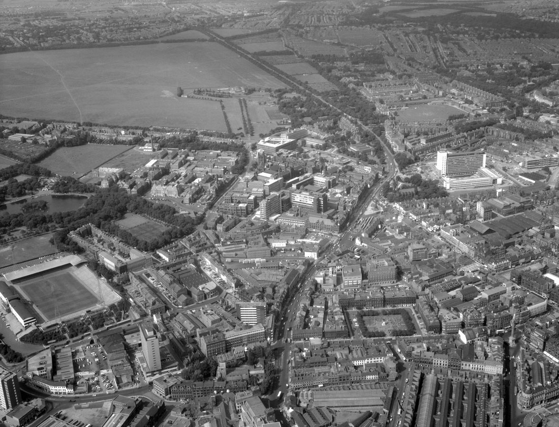 Aerial view of Newcastle upon Tyne, 1965