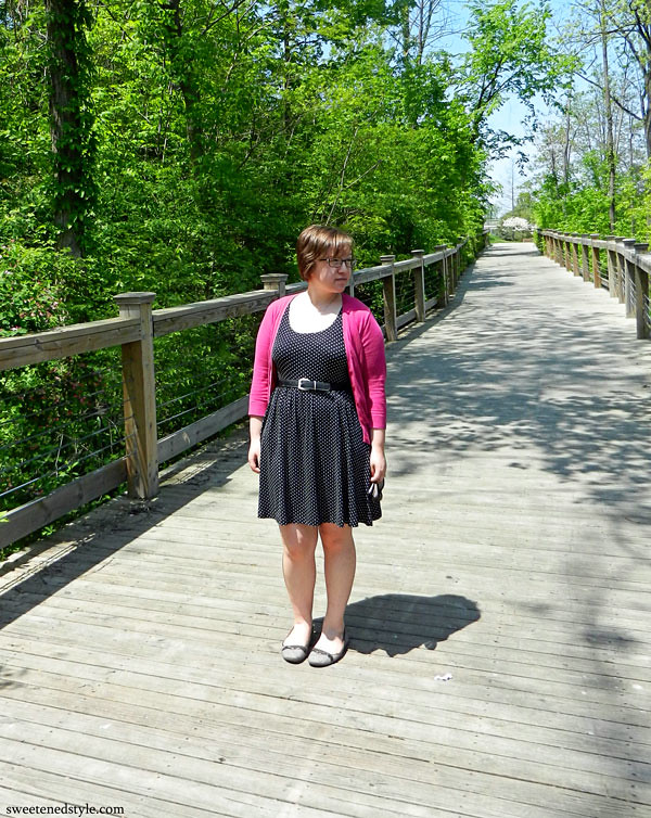 polka dot dress, pink cardi