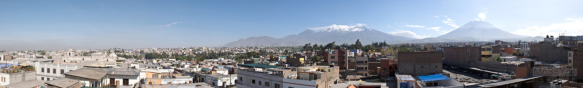 'El Misti', 'Chachani' and 'Pichu-Pichu' loom large over the city of Arequipa.