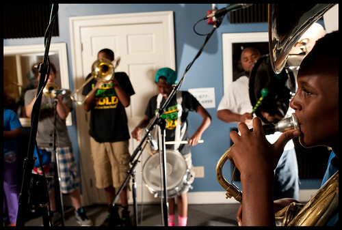 Triple B's Brass Band from the Martin Behrman Charter School Academy of Creative Arts and Sciences in the WWOZ Studio for Cuttin Class. by Ryan Hodgson-Rigsbee (www.rhrphoto.com)