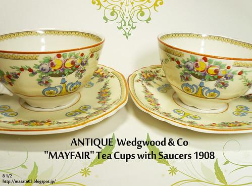 Wedgwood & Co MAYFAIR Tea Cups with Saucers 1