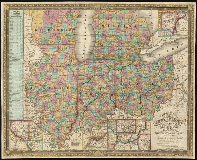 Map Of The States Of Ohio Indiana And Illinois With The