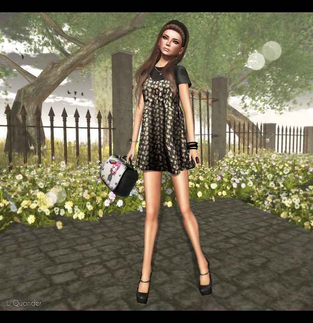 Last Day For June C88 feat -tb- Spaghetti Strap Dress  - Black Floral by Julliette Westerburg