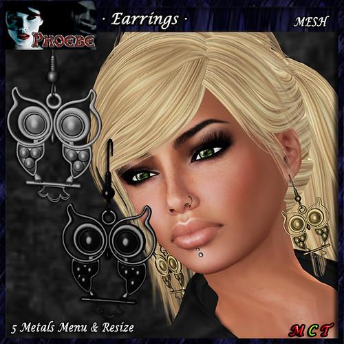 *P* The Owl Earrings ~5 Metals~