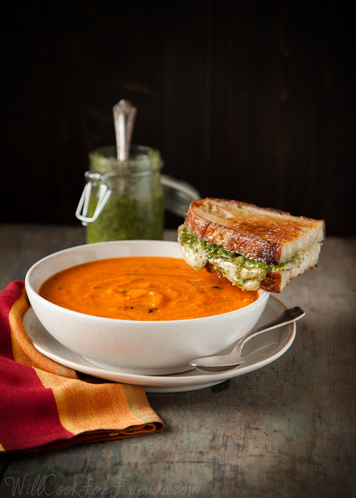 Garden Fresh Tomato Basil Soup with Pesto Grilled Cheese Sandwiches