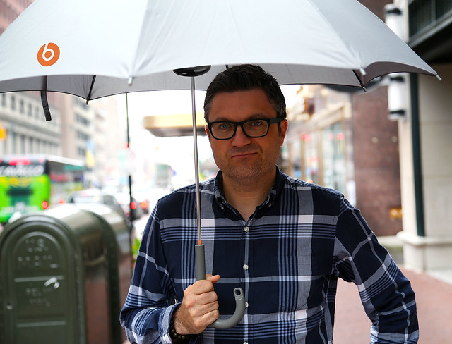Me sporting the umbrella in gray