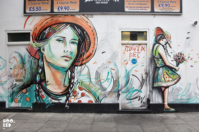 Camden Street Art, Italian Street Artist Alice paints London Mural