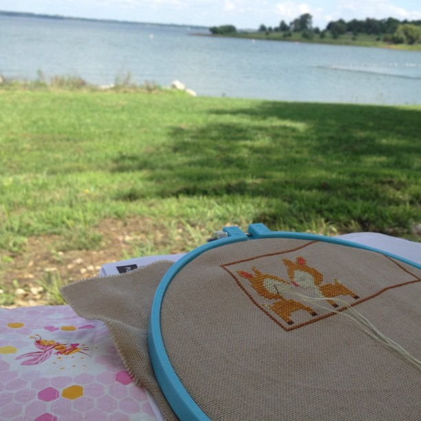 Enjoying the lake view while I stitch. Lots of sailboats out this morning.