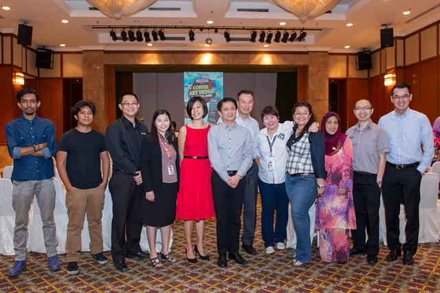 From left to right, Partners and sponsors of CAFFA 2013 - Slizzy, Ajeem Juxta, Mr T.H Hoh, Ms Nicole Low, Ms Cyndi Chin, Mr Khoo Kar Koon,Mr. Kelvin Ngow, Ms Karen Khoo, Ms Sasya Ahamd Sebi, Puan Adibah Ishak, Mr Chai Ku
