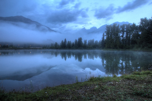morning lake canada mountains reflection fog clouds sunrise canon dawn day bc britishcolumbia maiden hdr 1022 fernie 60d