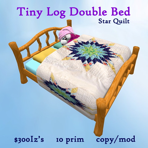 Tiny Log Double Bed - star quilt by Teal Freenote