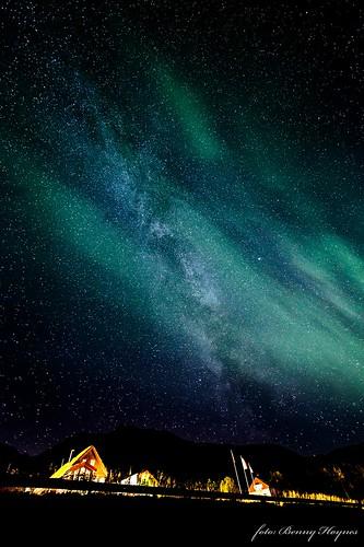 Taken from Buksnesfjord, Andøya island, Norway 2013. Andøya friluftsenter, aurora and milky way