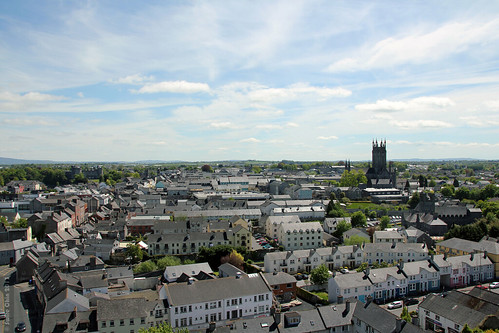 county city kilkenny ireland building castle home church architecture town centre aerial medieval co stately stmaryscathedral 1200s 13thcentury roundtower éire viewfrom stcanicescathedral republicof blackabbey earlyenglishgothic aimg1918