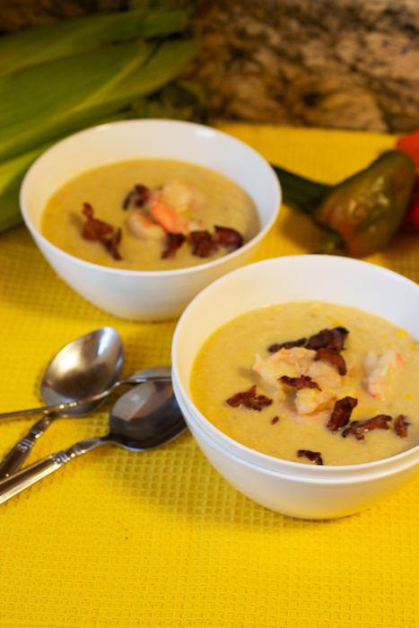 Bacon, Corn and Shrimp Chowder #SundaySupper