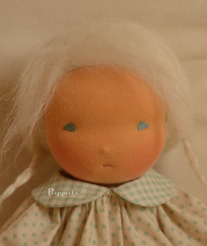 "Katja and Pipo,  15"" waldorf inspired doll and felt gnome"